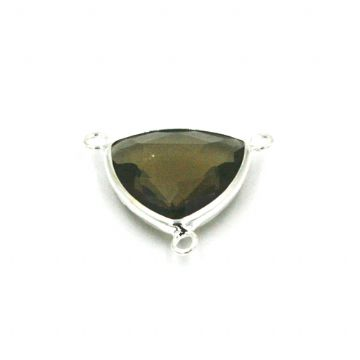19.5*19.5mm Smoky quartz colour triangle crystal connector - with 3 rings